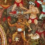 Mara probeert met behulp van tientallen demonen Boeddha van het mediteren af te houden. Een van Mara's demonen heeft een vuurlans, de andere een granaat of een brandbom, moderne wapens in die tijd.  Detail van een tiende-eeuwse schildering op zijde (144 × 113 cm) uit Dunhuang, een stad aan de oude zijderoute in het middenwesten van China. Het doek werd in 1900 gevonden in de Mogao-grotten en bevindt zich nu in het Musée Guimet in Parijs. (Wikimedia Commmons)
