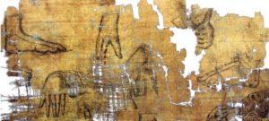 Deel van de Artemidoros-papyrus. De Turijnse politie stelde in 2019 vast dat de inkt van de tekeningen de verkeerde receptuur had. Op de uitvoervergunning van 1971 voor de papyrus stond nog niets over tekst of tekeningen. (foto: Oxford University)